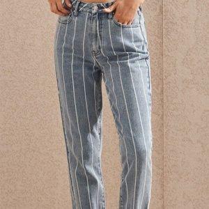Window Pane Striped Mom Jeans